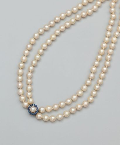 Collier deux rangs de perles de culture diamètre...