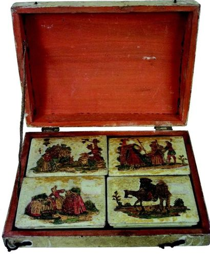 Rare et belle boîte de jetons anciens avec...
