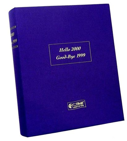«Hello 2000, Goodbye 1999», fabrication STEIFF, N°5424, deux ourson un bleu un doré....