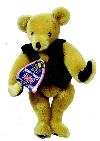 Teddy blond en peluche de marque anglaise MERRY THOUGHT (N° 24 sur 500) H 30 cm....