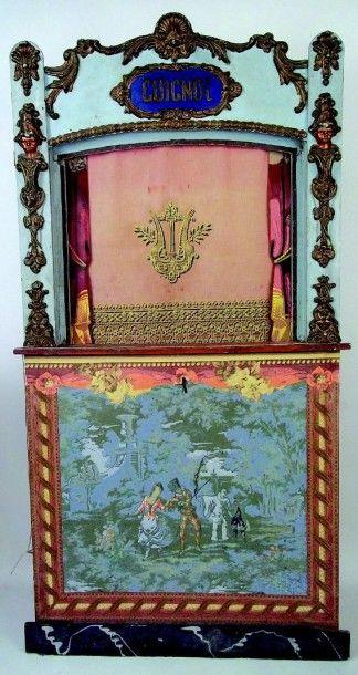 Castelet de théâtre de marionnettes en bois...