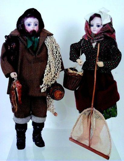 Rare couple de pêcheurs vendéens en costume...