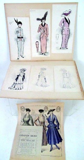 Deux planches avec 6 dessins de couturière...