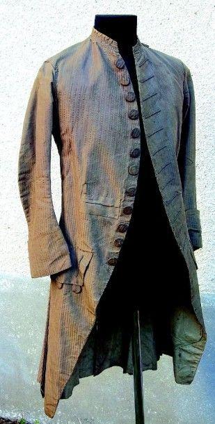 Rare redingote masculine en soie du XVIIIème...