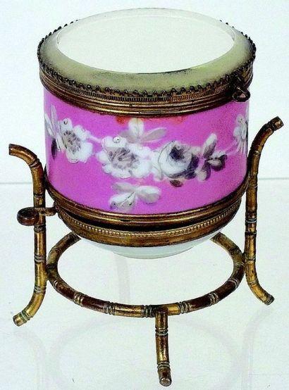 Rare et très belle boîte à bijoux ronde en...