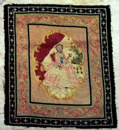 Très beau carré brodé au petit point représentant la reine de France Marie Leszczynska,...