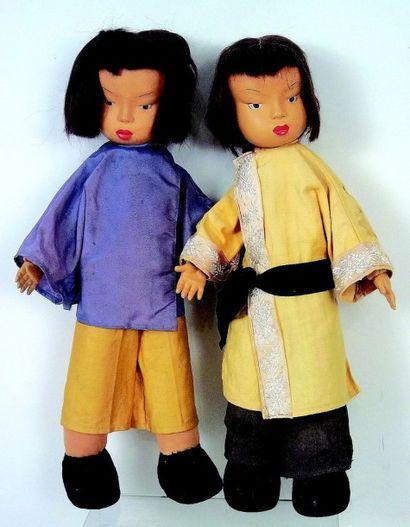 Deux poupées artistiques orientales de fabrication...