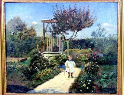 «Garçonnet au cerceau dans un jardin» Huile...