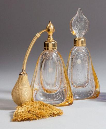 MARCEL FRANCK - (années 1990) Ensemble comprenant un flacon à parfum et un flacon-vaporisateur...