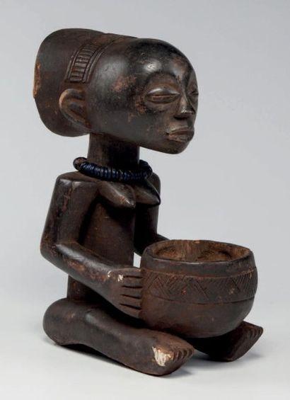 Luba, Congo RDC. Statue féminine porteuse...