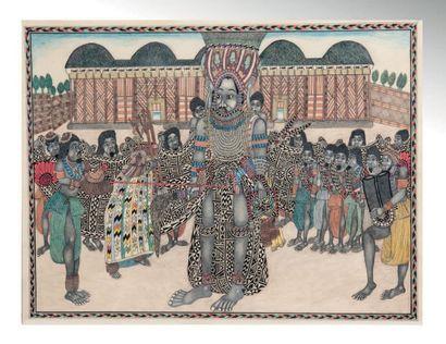 Dessin Bamoun réalisé sur papier velin à...