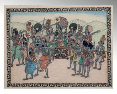 Dessin Bamoun réalisé sur papier velin représentant...
