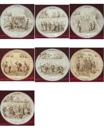 Très rare ensemble de 7 assiettes décoratives...