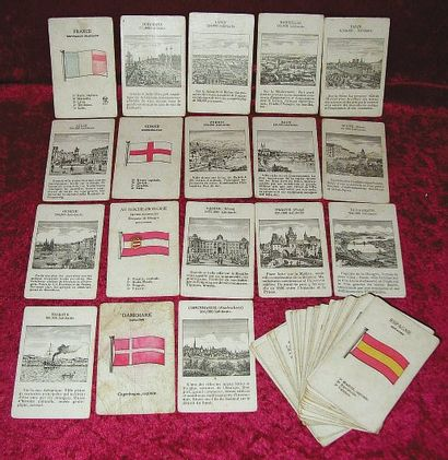 Rare Jeu de 72 cartes des Villes d'Europe...