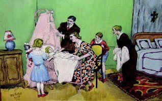 « Le nouveau-né » charmant dessin en couleurs...