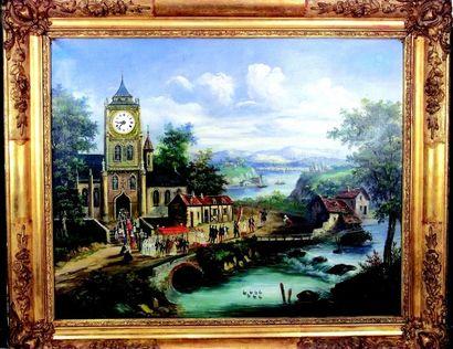 Tableau horloge avec superbe scène finement...