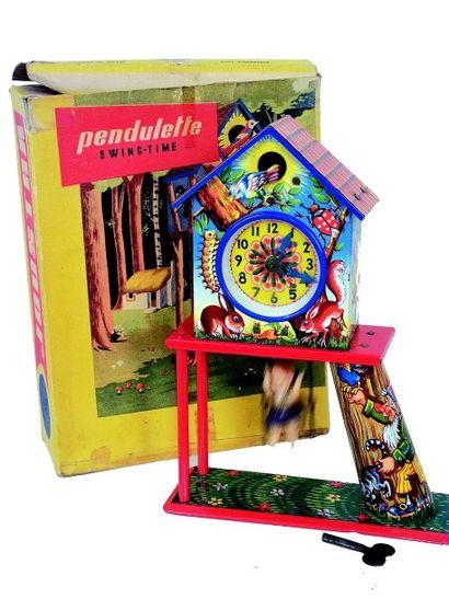 «Pendulette» mécanique avec animations (oiseau,...