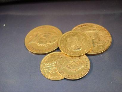 Lot de pièces en or: 50FFR Napoléon III;...