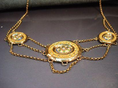 Collier d'esclavage en or jaune orné de trois...