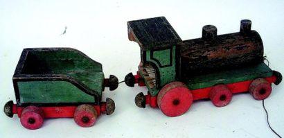 Locomotive et son tender, jouet à traîner,...