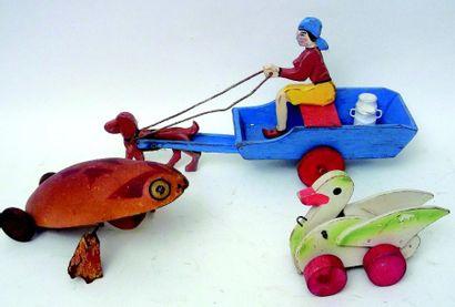 Ensemble de trois jouets à traîner en bois...