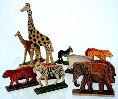 Ensemble de 11 animaux découpés en bois (surtout...