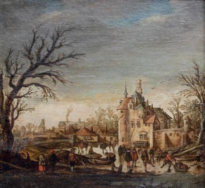 GOYEN Jan van (Leyde 1596 - La Haye 1656) 1 - Rivière gelée devant un château avec...
