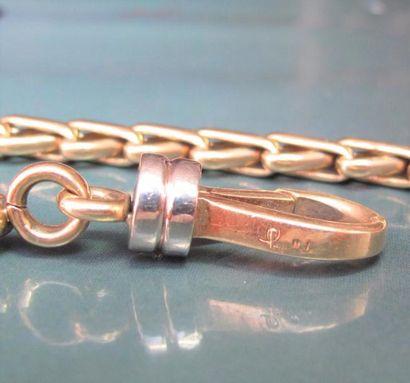 POMELLATO Bracelet en or deux tons 750°/00, à maillons tressés. Signé. 35 g. L :...