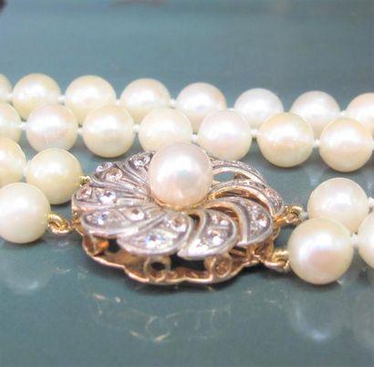 Collier deux rangs de perles de culture,...