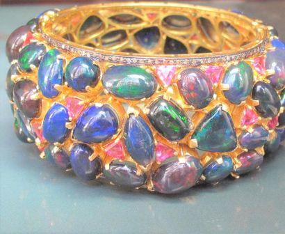 Bracelet rigide en vermeil 925, serti d'opales...