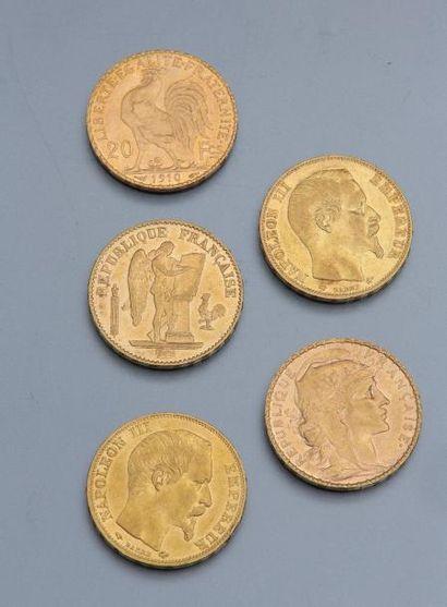Lot de 5 pièces de 20FRF en or Napoléon III, Marianne, République française.