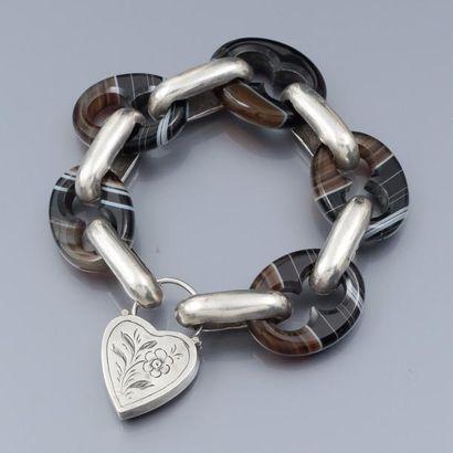 Bracelet à gros maillons en argent 800 et...