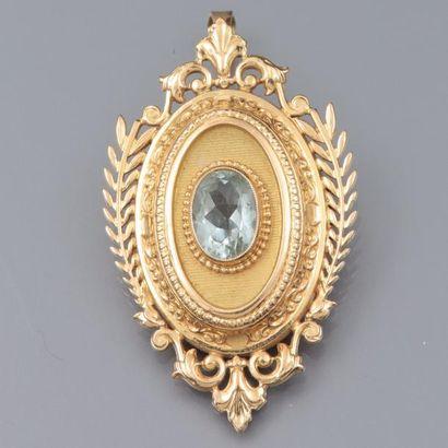 Pendentif broche ovale en or jaune 750°/00,...