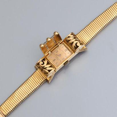 Montre bracelet de dame en or jaune 750°/00,...