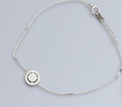 Fin bracelet en or gris 750°/00, maille forçat,...