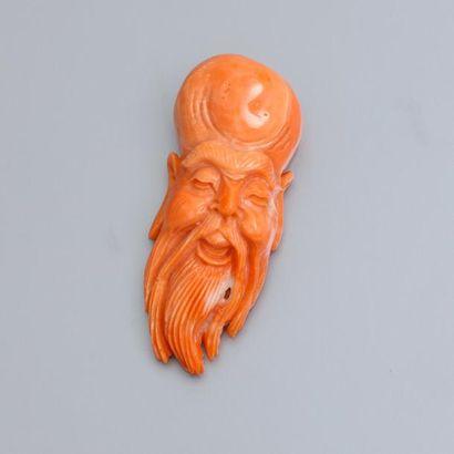 Tête de sage en corail sculpté. 20.40 g....