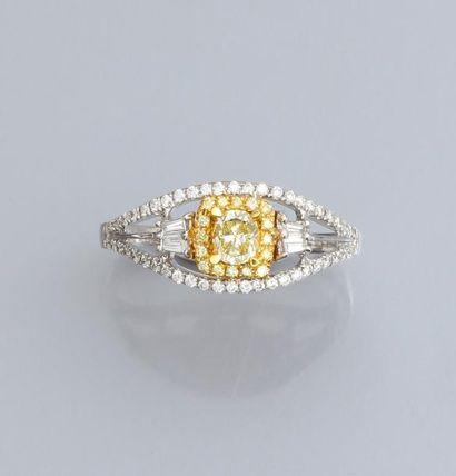 Bague en or gris 750°/00 sertie d'un diamant...