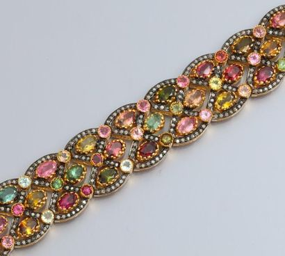 Bracelet en argent et vermeil 925, serti...