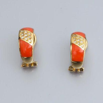 Paire de boucles d'oreilles en or jaune 750°/00,...
