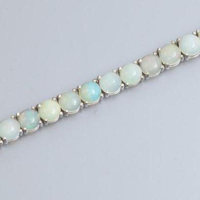Bracelet en argent 925, serti de d'opales...