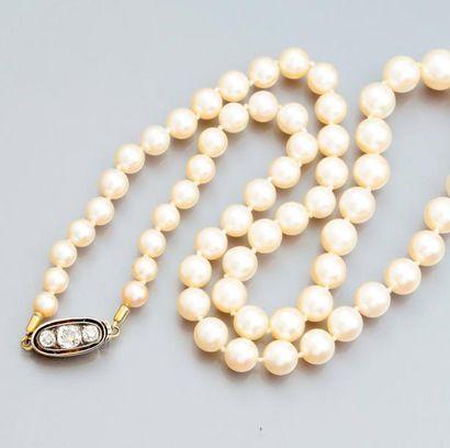 Collier de perles de culture en chute, diamètre...