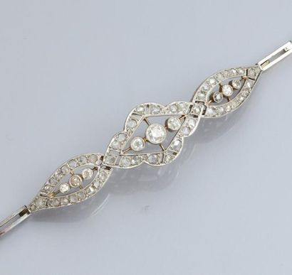Bracelet en platine et or 750°/00, à motif...