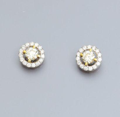Paire de boucles d'oreilles en or gris et jaune 750°/00, serties chacune d'un diamant...