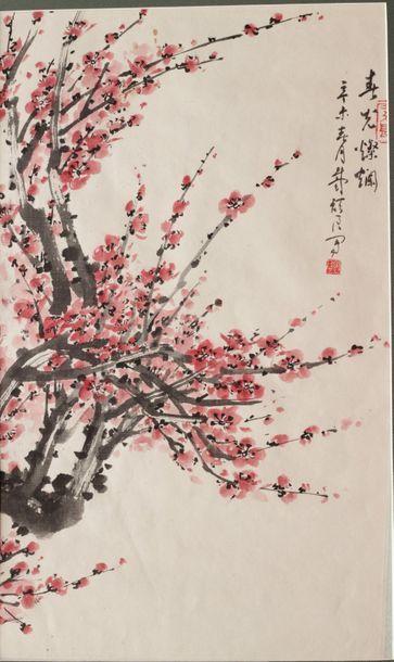 ECOLE CHINOISE XXe SIECLE  Cerisier en fleurs...