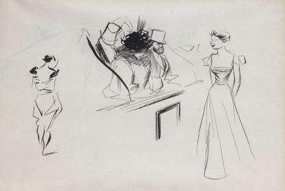 ECOLE FRANCAISE vers 1900  Etude de personnages...