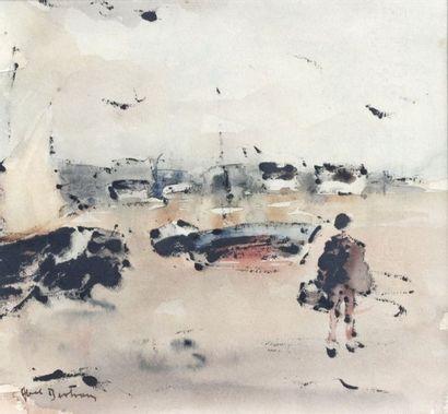Abel BERTRAM (1871-1954)  Pêcheurs et voiliers...