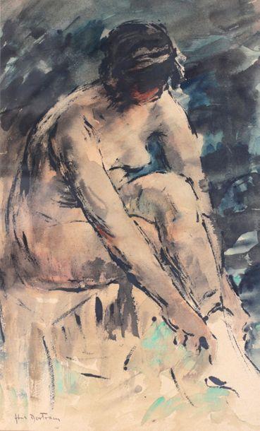 Abel BERTRAM (1871-1954)  Femme assise enfilant...
