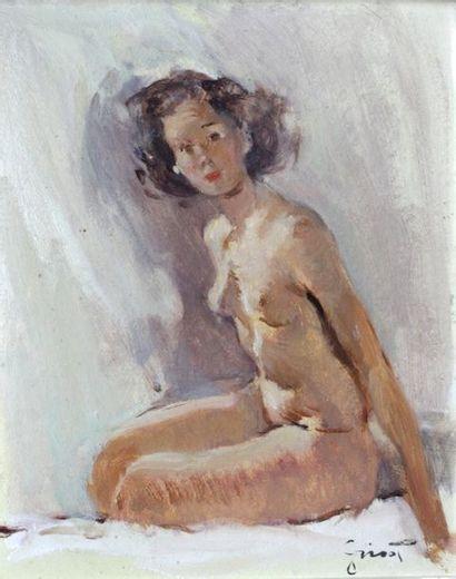 Pierre GRISOT (1911-1995)  Le modèle nu assis...