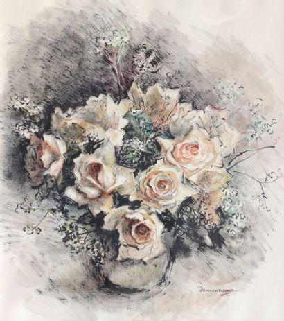 René DEMEURISSE (1895-1961)  Bouquet de roses...