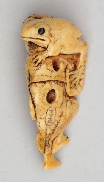 NETSUKE en ivoire à patine jaune représentant le Gamma Sennin, son crapaud sur l'épaule,...
